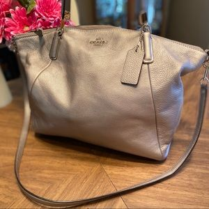 COACH large Kelsey tote in Silver with dual straps